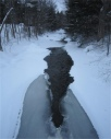 My Brook.  A photo from bridge over Sandy Brook in the winter