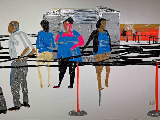 Airport In Security (installation view), duct tape on wall, 44'x12', 2012