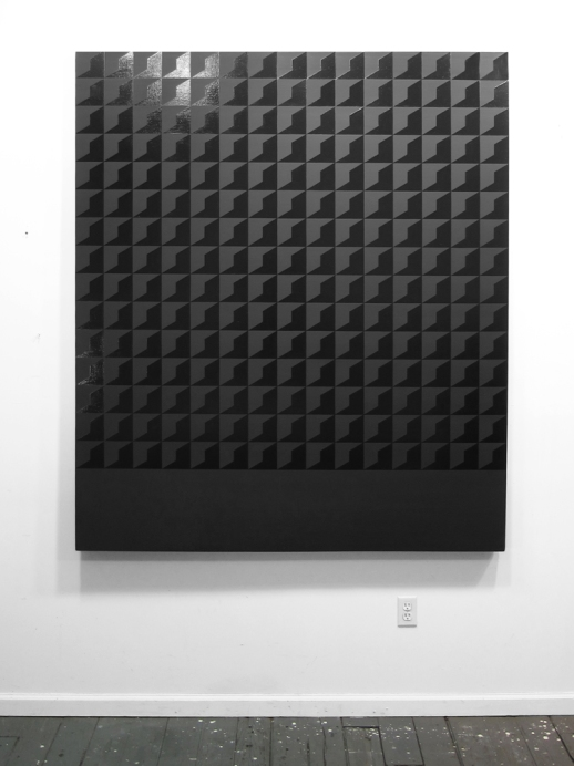 Heavy Load, 2012, Gloss and matte black enamel on canvas, 72 x 60 inches