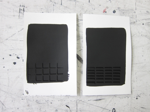 Studies for Low and Grattan Street II, 2012, Gloss and matte black enamal on paper, 8.5 x 5 inches