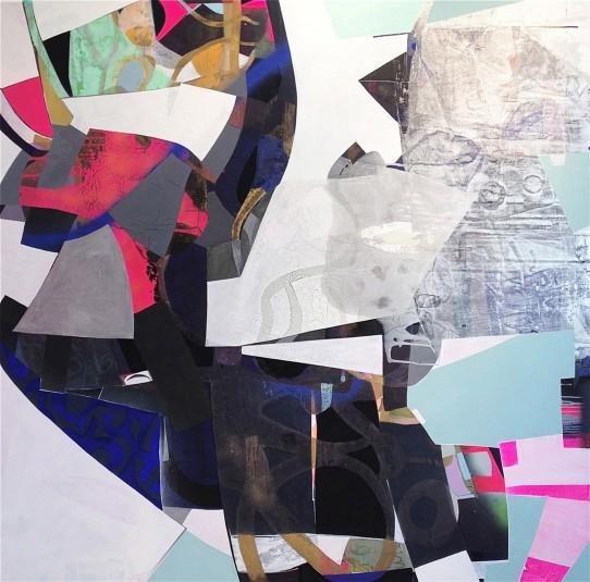 """Big Hands, 72""""x 72"""", acrylic, shellac, gouache and spray paint on canvas, 2013"""